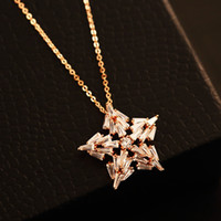 Wholesale Gold Chain Link Costume Necklace - five-pointed star Necklace & Pendant Women Fashion Choker Necklace for Party Collar Costume Zircon Jewelry Gold Plated