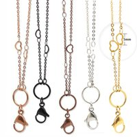 Wholesale chocolate wholesale china online - Newest style cm silver gold rose black chocolate L stainless steel Pendant Necklace Heart Station Custom Link Chain