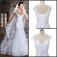 Wholesale lace binding - 2018 New The real picture new white arrivee robe DE noiva sexy strapless mermaid applique beads back bind the bride wedding dress 135