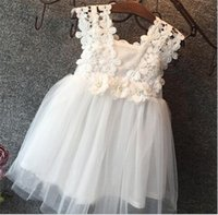 Wholesale Wholesale Tulle Wedding Gowns - Hug me Baby Girls Clothes Lace Tutu Dresses Children's Princess Dresses for Kids Clothing 2016 Summer flower girls wedding Party Dress K432