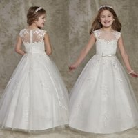 Wholesale Cute Lovely Images - 2016 Lovely Flower Girls Dresses for Weddings Cute Sheer Lace Applique Jewel Neck Ivory A Line Tulle Princess Communion Dress Floor Length