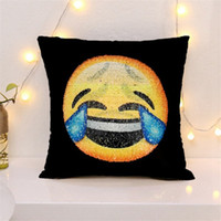Wholesale Embroidered Sofa Fabrics - Sequin emoji Pillow Case 40*40cm 7 Design Cover Cushion Smiley Face Pillow Magical Double Sequins Pillow Cases Decorative Sofa Home Car