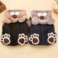 Wholesale Padded Shirt Small - Autumn and winter pack dog clothing paw print bear with a thick cotton-padded clothes and a small dog