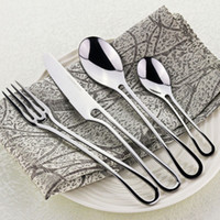 Wholesale White Kitchen Dinnerware Set - 4Pcs Exquisite Western Silver Dinner Tableware Set Kit Stainless Steel Cutlery Kitchen Dinnerware Hollow Teaspoon Fork Knife