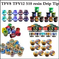 Wholesale Stainless Steel Baby - Drip Tips Mouthpiece Replacement Epoxy resin stainless steel SMOK TFV8 TFV12 driptip 510 drip tips TFV-8 big baby driptips single package