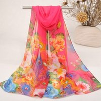 Wholesale Feather Scarves - New Style Gorgeous Scarf For Party Women Lady Outdoor Chiffon Printed Scarves Summer Beachwear Feather Peony Pattern 131