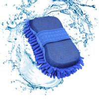 cepillo limpiador de microfibra al por mayor-Cepillo de lavado de esponja de coche Guantes Microfibra Limpiador de chenilla Paño de limpieza Limpiar accesorios