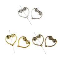 Wholesale Charm Frame Bead - 40pcs lot Tibetan Silver Heart Wing Frame Spacer Beads Fashion DIY Jewelry Making Bracelets Charms