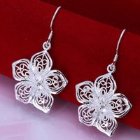 Wholesale E035 Hot sale XMAS Promotion fine sterling silver pc fashion jewelry new piercing silver wedding dangle earring for women