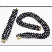 Wholesale pearl choker necklace row - 3 ROW 7-8mm natural tahitian black pearl necklace bracelet set 14K gold 18-20 inch