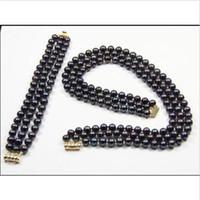 linha de pérola negra venda por atacado-3 ROW 7-8mm natural tahitian preto pérola colar pulseira set 14 K ouro 18-20 polegada