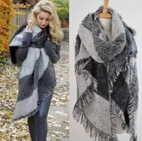 Wholesale Checked Wool Blanket - 3 Colors Winter Fashion Women Oversized Check Blanket Scarf Female Imitation Cashmere Pashmina Wool Scarf Shawl Warm Thick Scarves Cape Wrap