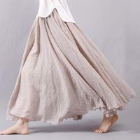 Wholesale Cotton Dress Elastic Waist - Fashion Brand Women Linen Cotton Long Skirts Elastic Waist Pleated Maxi Skirts Beach Boho Vintage Summer Skirts Faldas Saia