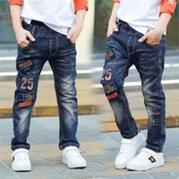 Wholesale light soft blue jeans - Classic spring autumn children's infant soft denim boy OR girl jeans casual trousers,Boy patch jeans. 3 5 7 8 10 12 14 years old