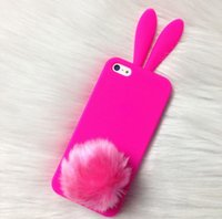 Moda Cute Silicone TPUC Soft Cell Phone Case Rabbit Ear Design com tampa traseira de pele furtiva com Sucker Pom Phone Case para Iphone Samsun