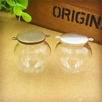 Wholesale Jewelry Findings Glass Vials - 30x20mm empty clear glass globe bottle with cap (two hanger ring) glass dome cover glass vial pendant charms fashion jewelry finding