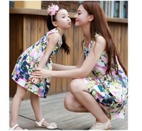 Wholesale Womens Sleeveless Summer Vests - 2016 summer new mother and daughter clothes girls floral printed vest dress Family dress womens cotton vest dress A8048