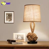 geführtes seillichtschlafzimmer großhandel-FUMAT Tischlampen Vintage Nachttischlampe de mesa lamp Retro Fabric Lampshade MesaLamps Rope Tischlampen Study LED Bedroom Lamps
