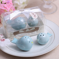Wholesale Cheap Salt Pepper - 2PCS Lot Ceramic Feathering the Nest Love birds Salt and Pepper Shaker Wedding Favors Cheap Party Gifts
