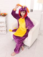 Wholesale Spyro Dragon Costume - Wholesale-freepp Spyro Purple Dragon Cartoon Animal Onesie Onesie Pajama Sets Adult Unisex Fashion Cosplay Women Pyjama Pajamas S,M,L,XL