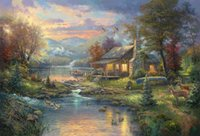 Wholesale Giclee Poster - The Giclee Art Canvas Paintings Oil The Thomas Kinkade Tangled christma Cuadros decoracion House Portrait Wall Art Posters Framed Prints