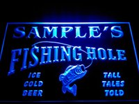Wholesale Fly Commercial - DZ054-b Name Personalized Custom Fly Fishing Hole Den Bar Beer Gift Neon Sign