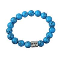 Wholesale Turquoise Copper Gemstone - Fashion Handmade Blue Turquoise Beaded Pisces Sign Charms Bracelet Energy Stone Gemstone Bracelet