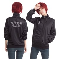Wholesale Cosplay Perucas - Wholesale-Japan Anime Haikyuu Cosplay Costume Karasuno High School Volleyball Club Jacket men women Unisex Perucas Black Sportswear S-2XL