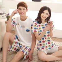 Wholesale Summer Lovers Sleepwear - Wholesale- 100% Cotton Couple Pajama Sets Summer Pijama For Women Men Female Sleepwear Comfortable Indoor Cloth Suit For Lovers