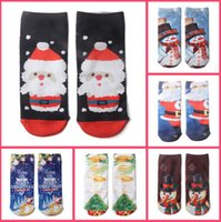 Wholesale Cute Women Girls Socks - 3D Print Cute Santa Claus Snowman Elk Socks Women Grils Low Cut Christmas Socks Harajuku Boat Sock OOA3404