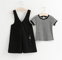 Wholesale Loose Sleeve Shirt Outfit - Baby Girl Summer Clothing Sets 2016 New Cute Girls Striped Short Sleeve T-shirt+Loose Harem Suspender Pants 2pcs Kids Outfits 2-7T 5sets lot