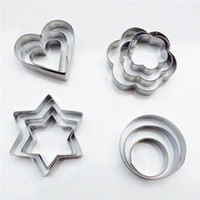 12PCS / lot Stainless Star / Heart / Flower Cookie Shaker Cake Biscuit Fruit Moule Dhl Livraison gratuite S318