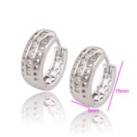 Wholesale Huggies Earrings Gold - Xuping Brand Hot Sell Huggies Rhodium Plated Earrings For Women Zirconia Copper Wedding Earrings Jewlery Huggie For Wedding DH-9-9071213