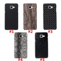 Wholesale Snake Pattern Back Cover - Carbon Fibre Snake Crocodile Wood Pattern PU Skin PC Hard Back Cover Case For Samsung Galaxy A3 2016 A5 2016 A7 2016