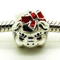 Silver sports piggy banks - 2016 Piggy Bank Silver Charm With Black And Red Enamel Sterling Silver Bead Fit Pandora Bracelet Fashion Jewelry DIY Charm Brand