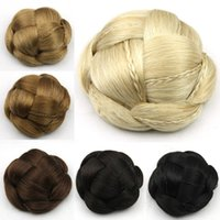 Wholesale Indian Hair Buns - 5 Colors Brazilian Synthetic Hair Chignon Braiding Hair Bun 11cm Short Brown  Blond black Perruque Hairband Hairpieces Free Shipping