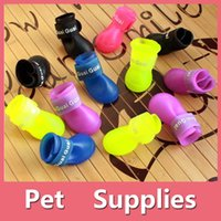 Wholesale Winter Dog Booties - Colorful Waterproof 4Pcs Dog Anti-Slip Candy Colors Rubber Boots Pets Rain Shoes Booties Pet Supplies 160909
