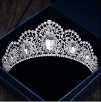 Wholesale Wedding Gown Tiara - Fabulous 2018 Hair Tiaras Jewelry Wedding Crowns For Women Sparkling Crystal Rhinestone Bridal Headpieces Headwear Crown Party Gowns