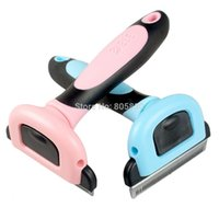 Pink Blue Dog Hair Remover Pet Shdding Tool Chien Grooming Peigne pour cheveux longs et courts cheveux Pinceau S M Metal Blade