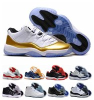 Wholesale Womens Gold Low Shoes - 2016 New Retro 11 Low XI Closing Ceremony Metallic Gold Womens & Mens Basketball Shoes Wholesale Fashionable Athletic Sneakers Eur 36-47
