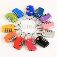 Wholesale Tsa Travel - TSA Combination 4 Digit Dial Code Padlock Locks Resettable Travel Luggage Suitcase Bag Zinc Alloy 12 Colors #4077