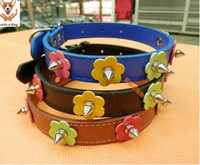 Wholesale Diy Leather Dog Harness - 45cm Beautiful multicolor imitation leather dog collars DIY four flower top spire decoration pet collar 3pcs lot free shipping