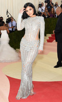 Wholesale Pink Celebrity Dresses - Kylie Jenner Celebrity Dresses Met Gala 2016 Red Carpet Long Sleeve Mermaid Beaded Crystal Celebrity Dresses Sexy Pageant Dresses
