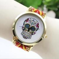 Wholesale White Gold Friendship Bracelets - 2016 New Brand Handmade Braided Human Skeleton Friendship Bracelet Watch Geneva Watch Ladies Quartz Watches 13 Colors