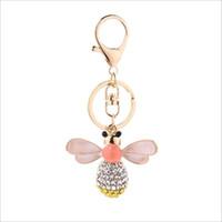 Wholesale Car Bee - 2017 new fashion Crystal Mosaic oil drip Key rings key Chain women jewelry Little bee For Lovely Car Key chain wholesale free shipping