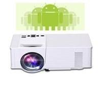 Wholesale Lcd Projector Build Hdmi - Projector AM01P LED Projector Built-in Android 4.4 DLAN WIFI Bluetooth Miracast Airplay EZCast Multilanguage MINI Beamer