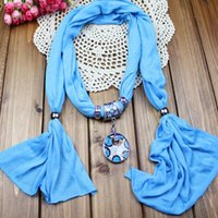 Wholesale Cross Charm Scarves - pendant scarf jewelry with beads Mixed Design & color 12pcs scarves charms cross necklace WY101 12p