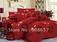 Wholesale Comforter Wedding Twill - 500 thread count red romantic chinese wedding lover style cotton bedding duvet covers set 4pc for full queen comforter quilt #mc