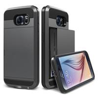 Wholesale Galaxy Note Credit Card - Wallet Case For Samsung Galaxy Note 3 4 5 Armor Slide Spacious Credit Card Case Luxury Slim Hybrid Wallet