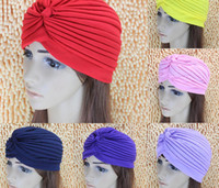 Wholesale Shower Head Cap - Fashion Women Lady Stretchy Polyester Turban Head Wrap Hat Band Bandana Hijab Pleated Indian Styles Caps Muslims Shower Cap